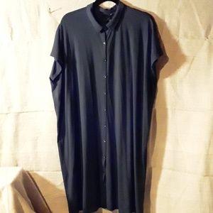 Eileen Fisher black button down dress goth